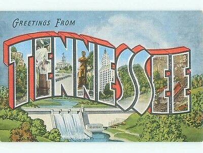Unused Linen BIG LARGE LETTERS state of Tennessee TN Q2586