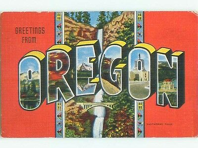 Linen BIG LARGE LETTERS state of Oregon OR Q2819