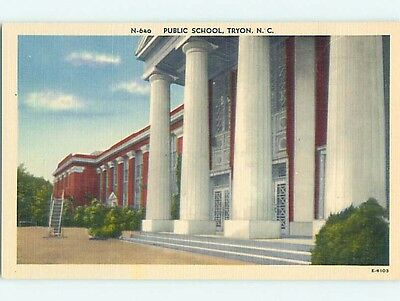 Unused Linen PUBLIC SCHOOL Tryon North Carolina NC Q8953
