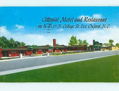 1950's COLONIAL RESTAURANT & MOTEL Oxford North Carolina NC r0843