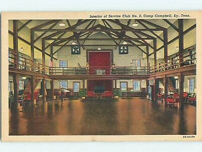 Unused Linen MILITARY - SERVICE CLUB INTERIOR Clarksville TN Q9505-22