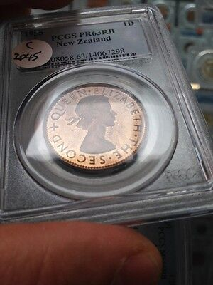 New Zealand 1955 Rare Choice Proof Penny Pcgs Slabbed Pr63 Red Brown. 20 Minted