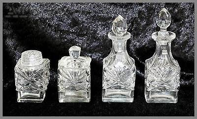 Vintage 4 piece art deco cut crystal condiment set. In lovely condition