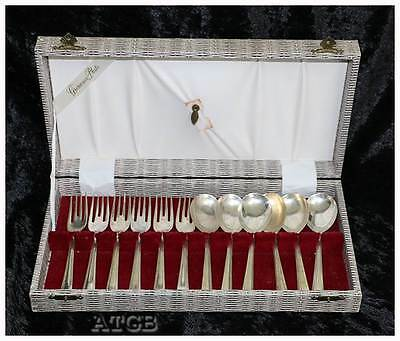 Vintage Grosvenor Delphic EPNS A1 silver plated 6 person dessert spoon fork set
