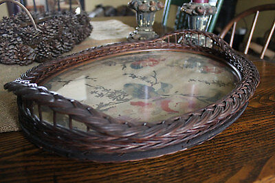 Victorian Wicker Tray with Rose Fabric Under Glass, Oval Tray with Faded Roses,