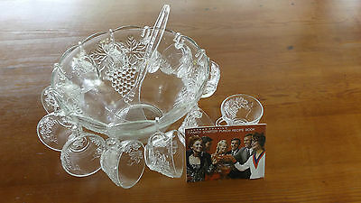 Vintage Retro 60's Punch Bowl Set with Ladle - 26 piece