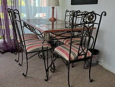 Spanish Style Wrought Iron & Glass Dining Table & 6 Matching Upholstered Chairs