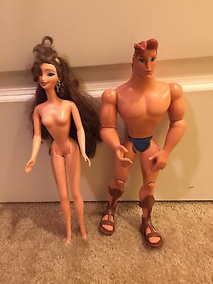 Disney Hercules & Megara Barbie Doll Set Rare (Nude)