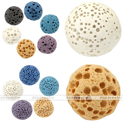 Sponge Lava Rock Round Ball Gemstone Stone Bead For Perfume Oil Diffuser Charm