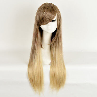 Fashion Hot Style Long Yaki straight hair Dark Ombre Light Blonde Wigs