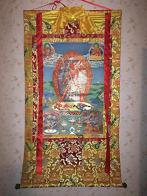 Large Vajrayogini Thangka, Thanka  [Buddhism, print on cloth, exclusve brocade]