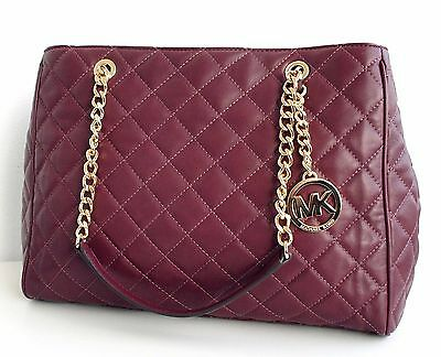 Michael Kors Tasche/Bag  SUSANNAH LARGE QUILTED  LEATHER HOBO Merlot NEU!