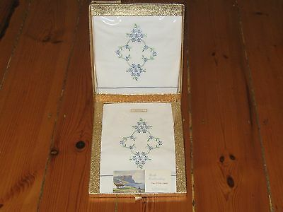 2 Vintage Irish Embroidery Pillow Cases in Box