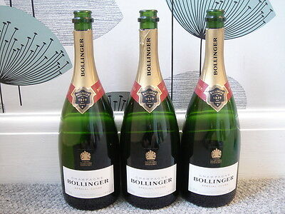 3 X Empty Bollinger Special Cuvee Champagne Bottles - Queen Elizabeth 11 Stamp.