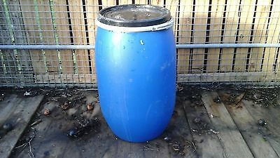 Blue Plastic Water Barrel Butt Garden 120 Litre With Lid And Clasp