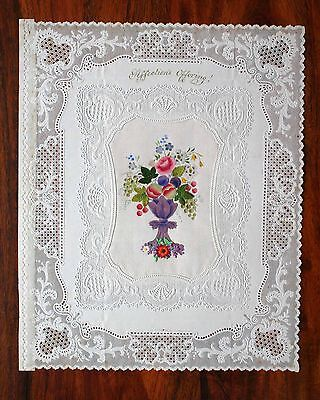 Large Victorian Valentine Card Lace Paper Dobbs Bailey Single Silk Middle Scraps