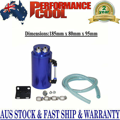Aluminum Engine Racing Oil Catch Tank + Hose Cylinder Reservoir Breather Can Pf