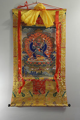 Large Vajrabhairava / Yamantaka thangka, thanka, genuine silk brocade (buddhism)