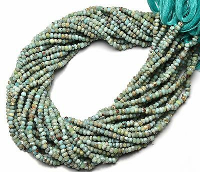 """Natural Gemstone Larimar Rare Micro Faceted 4MM Size Rondelle Beads 13"""" Strand"""