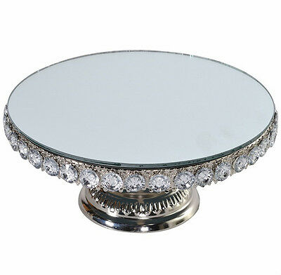 Round silver mirrored Christmas cake stand vintage style beaded wedding cake