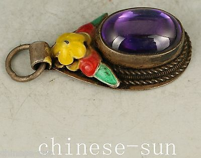 Noble Gift Chinese Old silver Handmade Inlay Jade Collect Statue Pendant