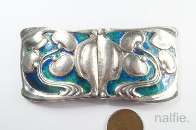 Antique English Art Nouveau 1907 Sterling Silver Enamel Sash Buckle Jewelry & Watches