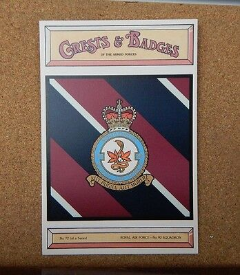 Royal Air force No 92 Squadron Crests & Badges of  the Armed services Postcard