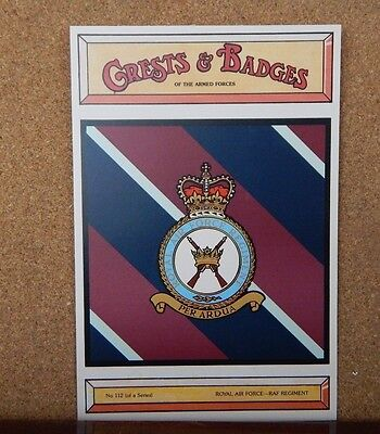 Royal Air force  RAF Regiment Crests & Badges of the armed services postcard