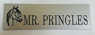 Quality engraved personalised stable name sign silver laminate