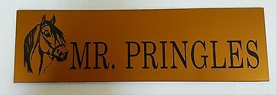 Quality engraved personalised stable name signs gold colour laminate x 3 0ff