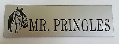 Quality engraved personalised stable name sign silver laminate x 3 0ff