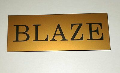 Quality engraved personalised stable name signs gold laminate x2off