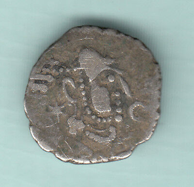India 1000 Years Old Ex RARE Ancient Gadhaya Dynasty King Portrait Silver Coin