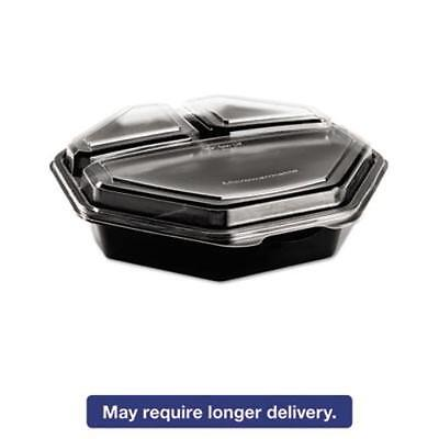 Solo Cups 864628-PS94 Octaview Cf Container, 3-c, Black/clear, 36oz, 9.57w X