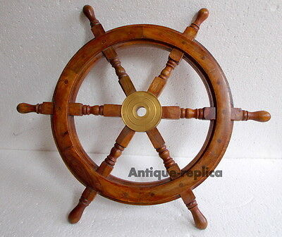 """Authentic Boat Ships Captains Nautical Ship Wheel 24"""" Wooden Steering Wheel"""