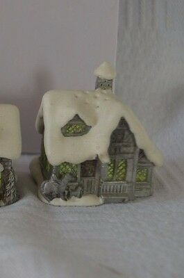 Sterling Pewter Thimble Snow English Village in Winter - The Inn