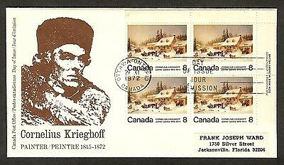 Canada - 1972 Death of Cornelius Krieghoff – Error on FDC