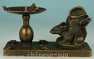 Old Bronze Handmade Carving squirrel Frog Collect Statue candle stick Oil Lamp