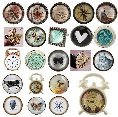 GLASS DOOR KNOBS Vintage Shabby Chic Drawer Handles Metal French Designs Kitchen