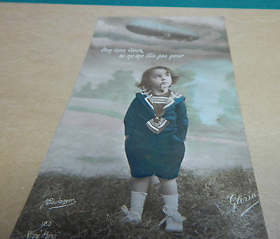 WW1 Patriotic postcard zeppelin you dont scare me,with message from front. b2.