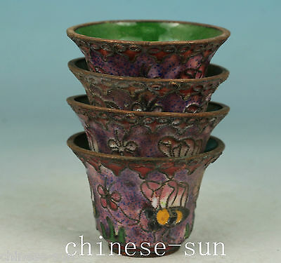 A set 4 Piece Asian Chinese Old Cloisonne Handmade Painting Flower Collect Cup