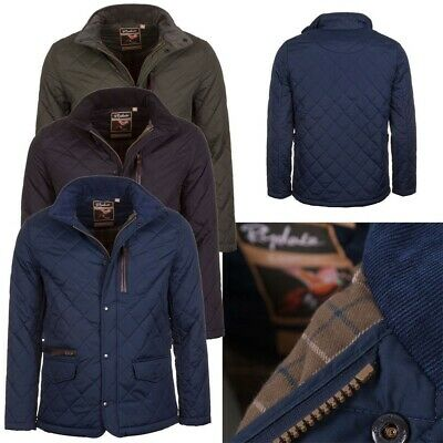 Mens Diamond Quilted Jacket Rydale Wetherby Padded Coat Black Navy Green