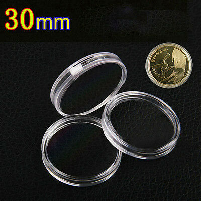 10Pcs/pack 30mm Applied Clear Round Cases Coin Storage Capsules Holder Coin Box