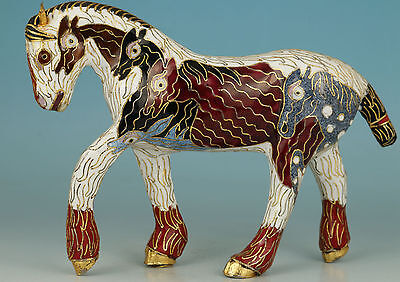 Noble Chinese Old Cloisonne Handmade Carved horse Statue
