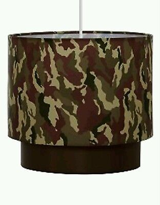 Green Khaki Camo Army Camouflage Lightshade Ceiling Light Pendant SHADE NEW