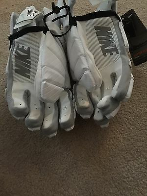 Nike Vapor Elite White/Silver Lacrosse Gloves Size Large 13 New With Tags