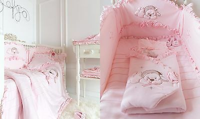 Cotton Baby girl newborn pink luxury nursery cot crib bumper protection