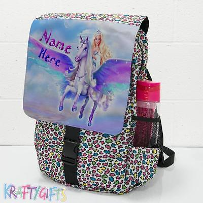 Personalised Unicorn Princess Girls Large Animal Backpack School Sport Bag ST840