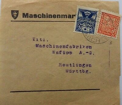 Czechoslovakia 1938 Wrapper To Germany With C. G. V. Perfin Stamps