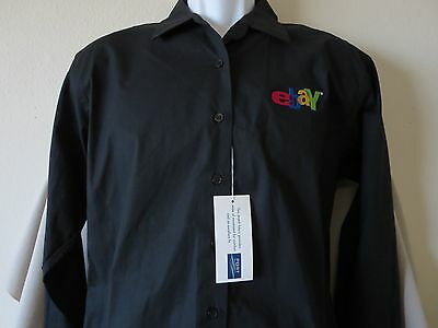 New Womens EBAY Black Button Down Shirt Top Size LARGE eBayana Selling Old Logo